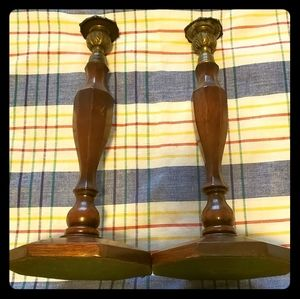 Vintage Candlesticks Wood + Brass pair